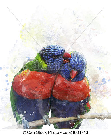 Clipart of Rainbow Lorikeet Parrots.