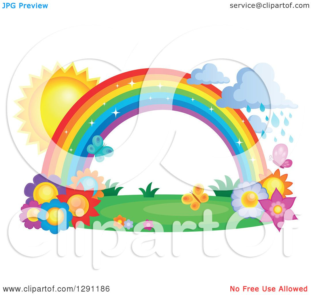 Clipart of a Sparkly Magic Rainbow Arch with Rain Clouds, the Sun.