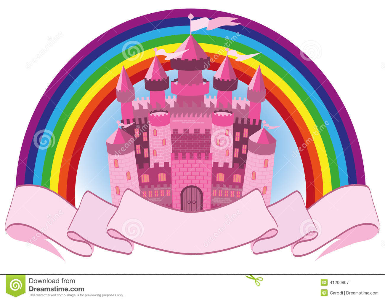 Fairy Tale Pink Magic Castle And Rainbow Stock Vector.