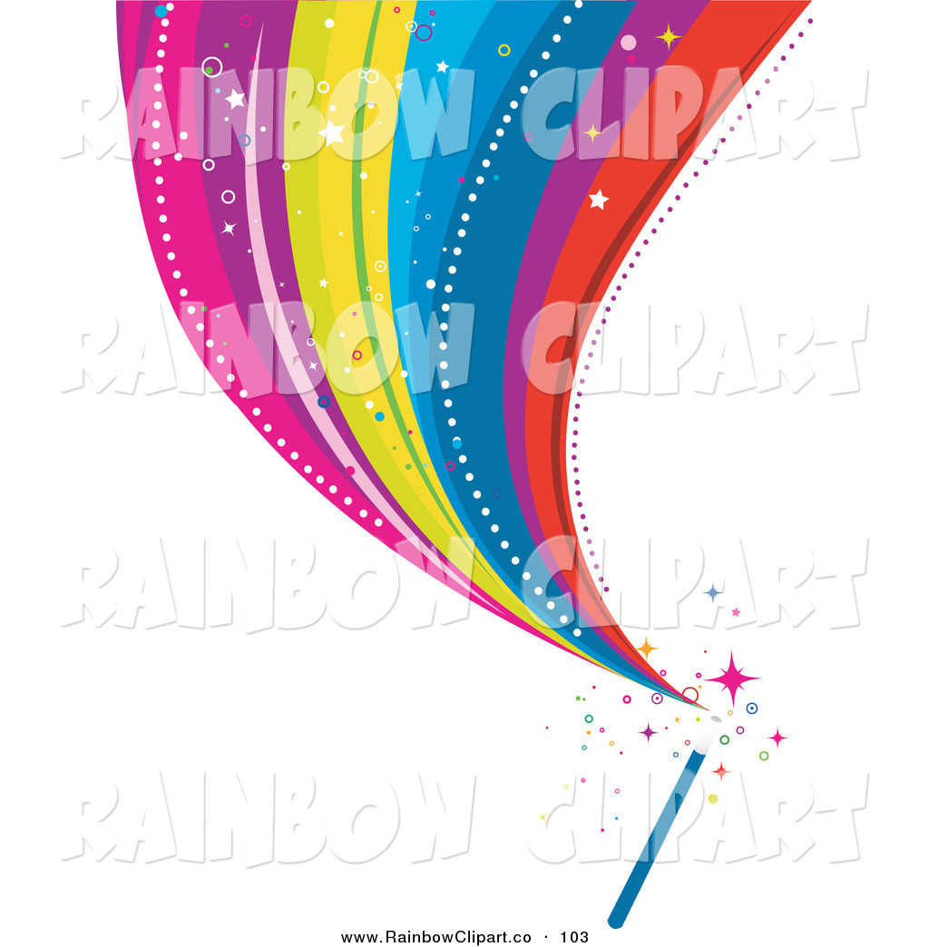 Vector Clip Art of a Colorful Rainbow Stream Shooting from a Magic.