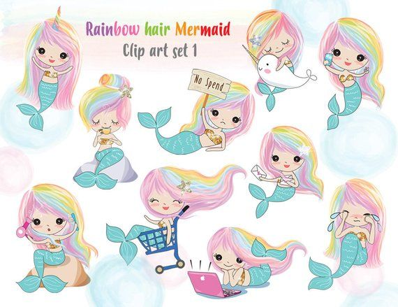 Rainbow hair Mermaid Clip art set 1 , instant download PNG.