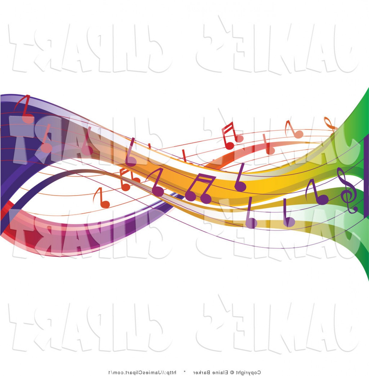 Vector Clip Art Of Colorful Music Notes Flowing Through.