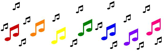 Rainbow music notes clipart.
