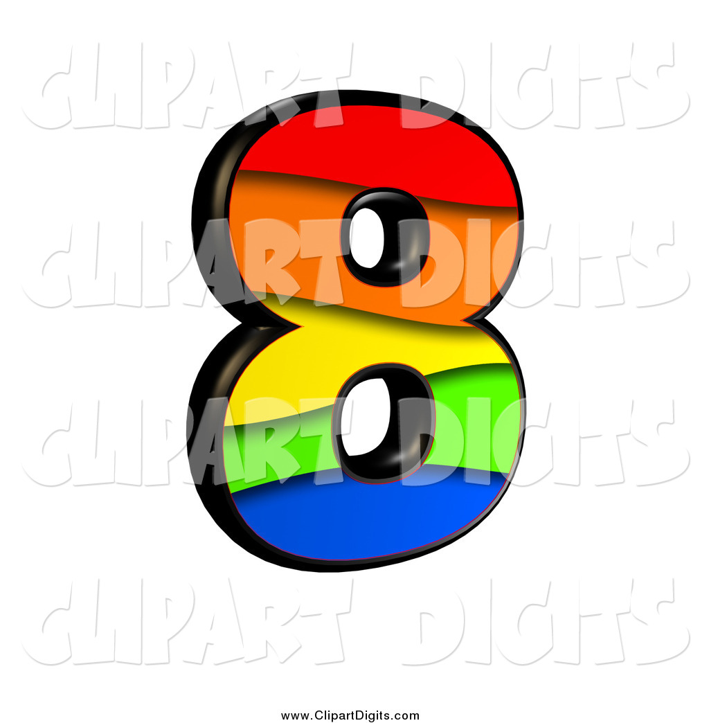 Clip Art of a 3d Rainbow Number 8 by chrisroll.