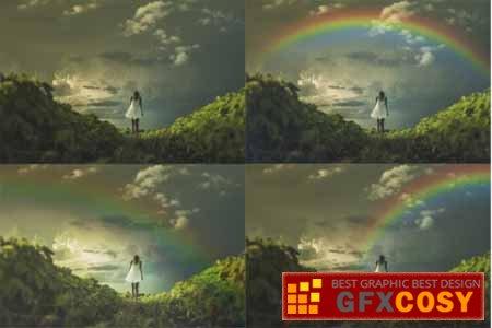 Rainbow Overlay for Photoshop Rainbow Backdrop Photo Clipart.