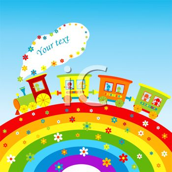 Royalty Free Clipart Image: Cheerful Toy Train with a Rainbow.