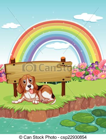 Clipart Vector of Dog and rainbow.