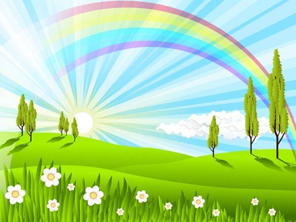 Colorful rainbow scenery.