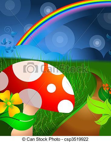 Clip Art of Rainbow and mushroom.