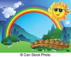 Clipart Vector of Landscape with rainbow and Sun 2.