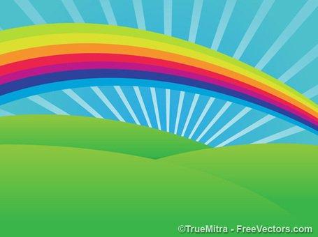 Rainbow Scenic Background, free vectors.
