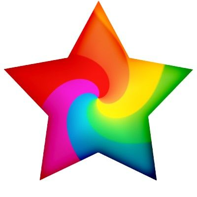Swirly Rainbow Stars Cutout.