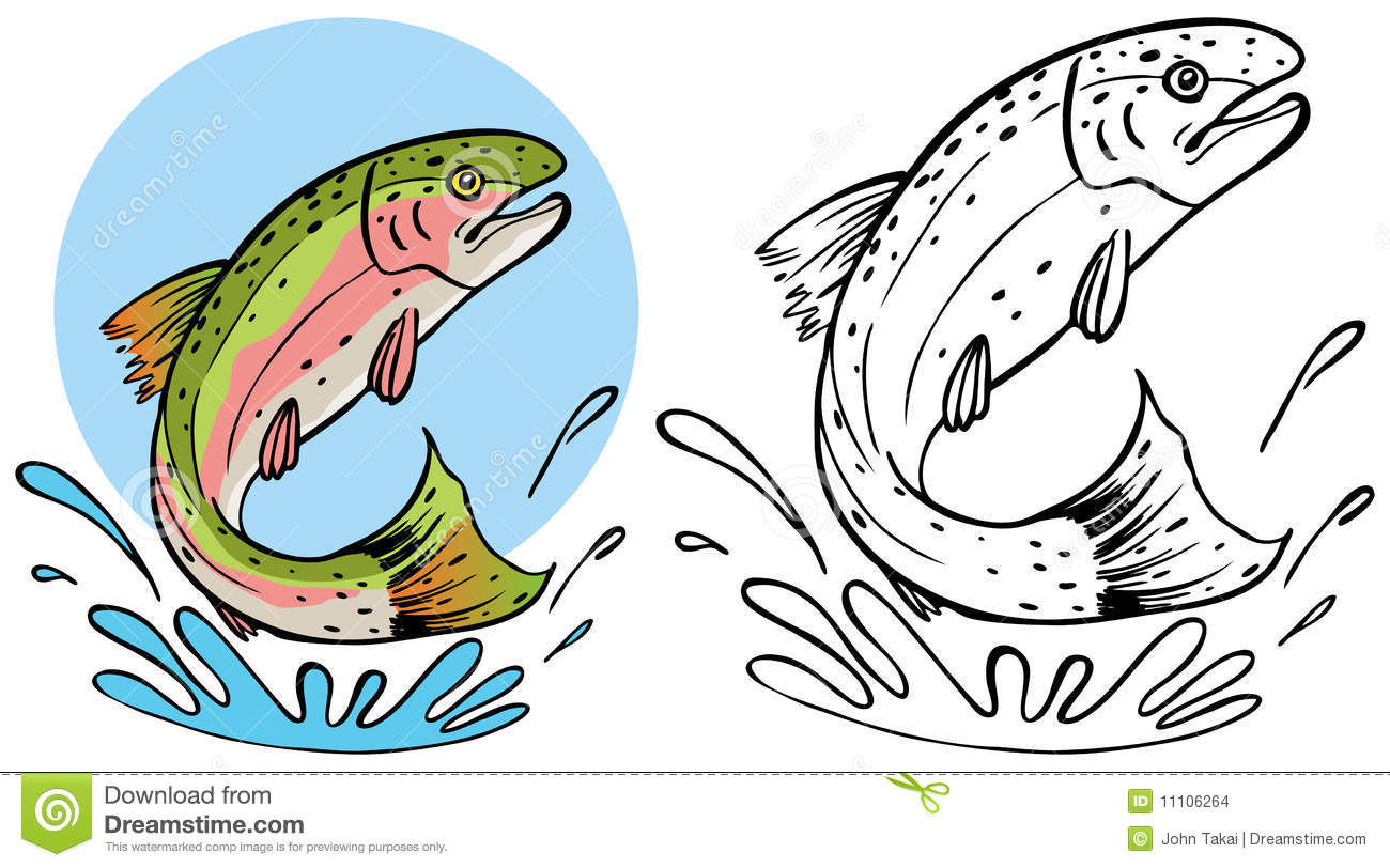 Rainbow trout jumping clipart.