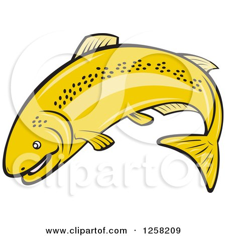 Clipart of a Cartoon Rainbow Trout Fish Jumping.