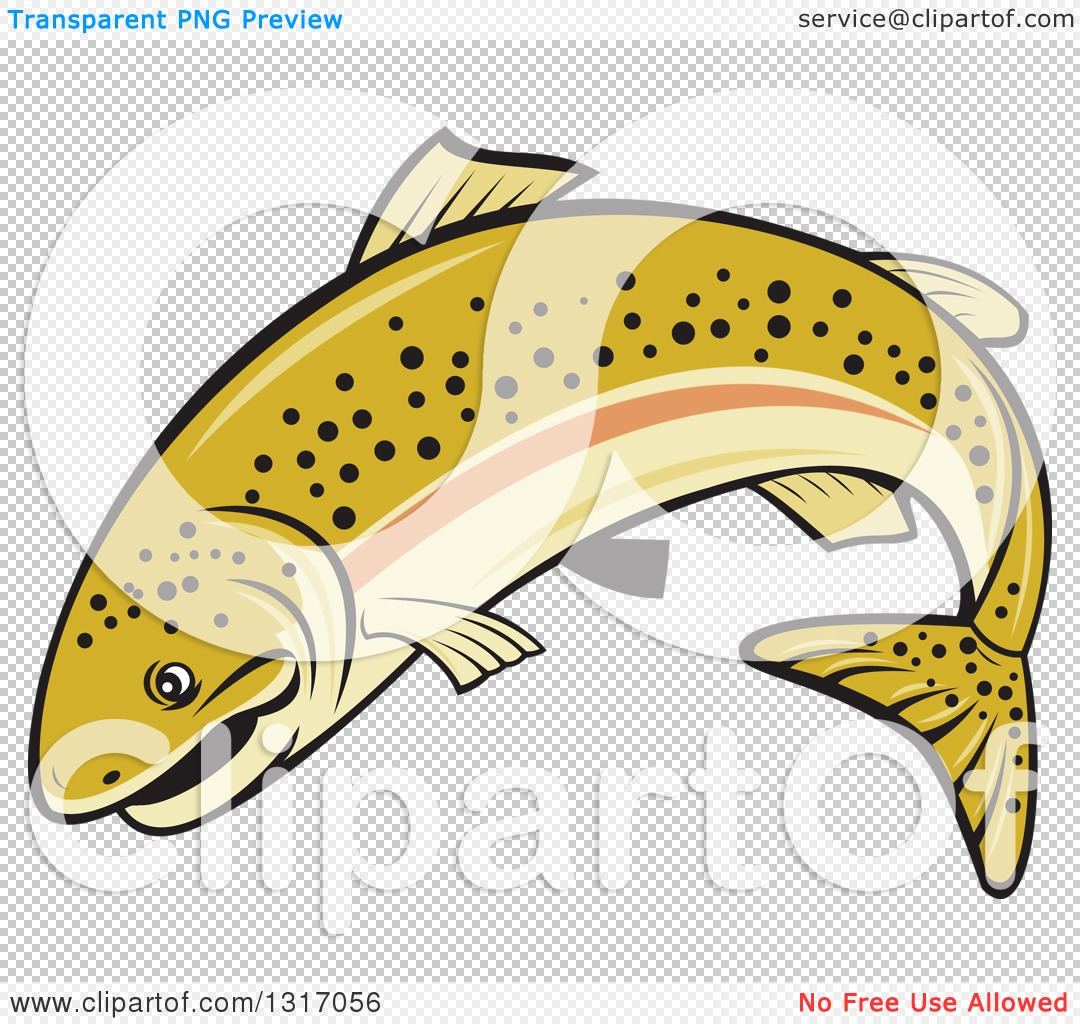 Clipart of a Cartoon Leaping Rainbow Trout Fish.