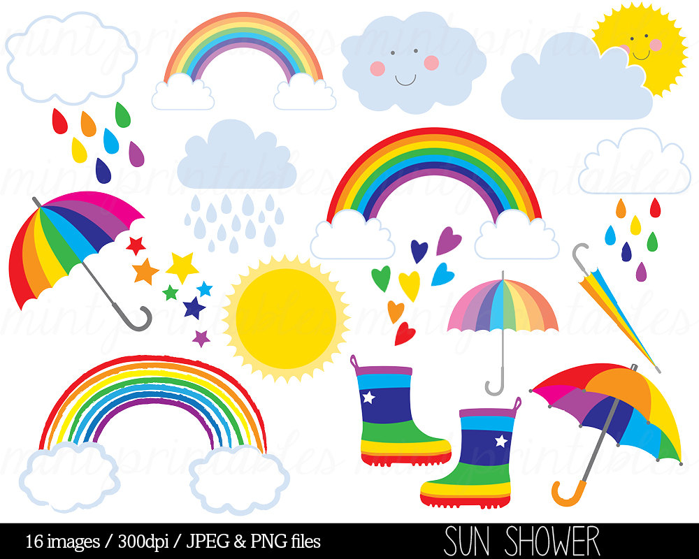 Rainbow Clipart Clip Art Rain Cloud Raindrops Sun Sky Stars.