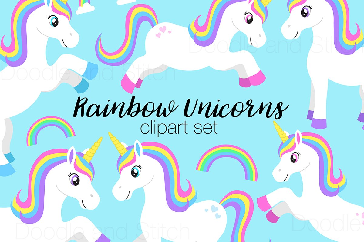 Rainbow Unicorn Clipart Designs.