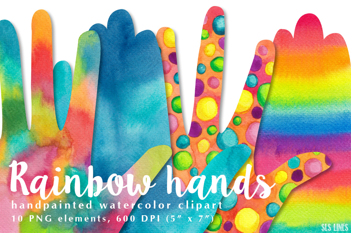 Rainbow Hands Watercolor Shapes Clipart.