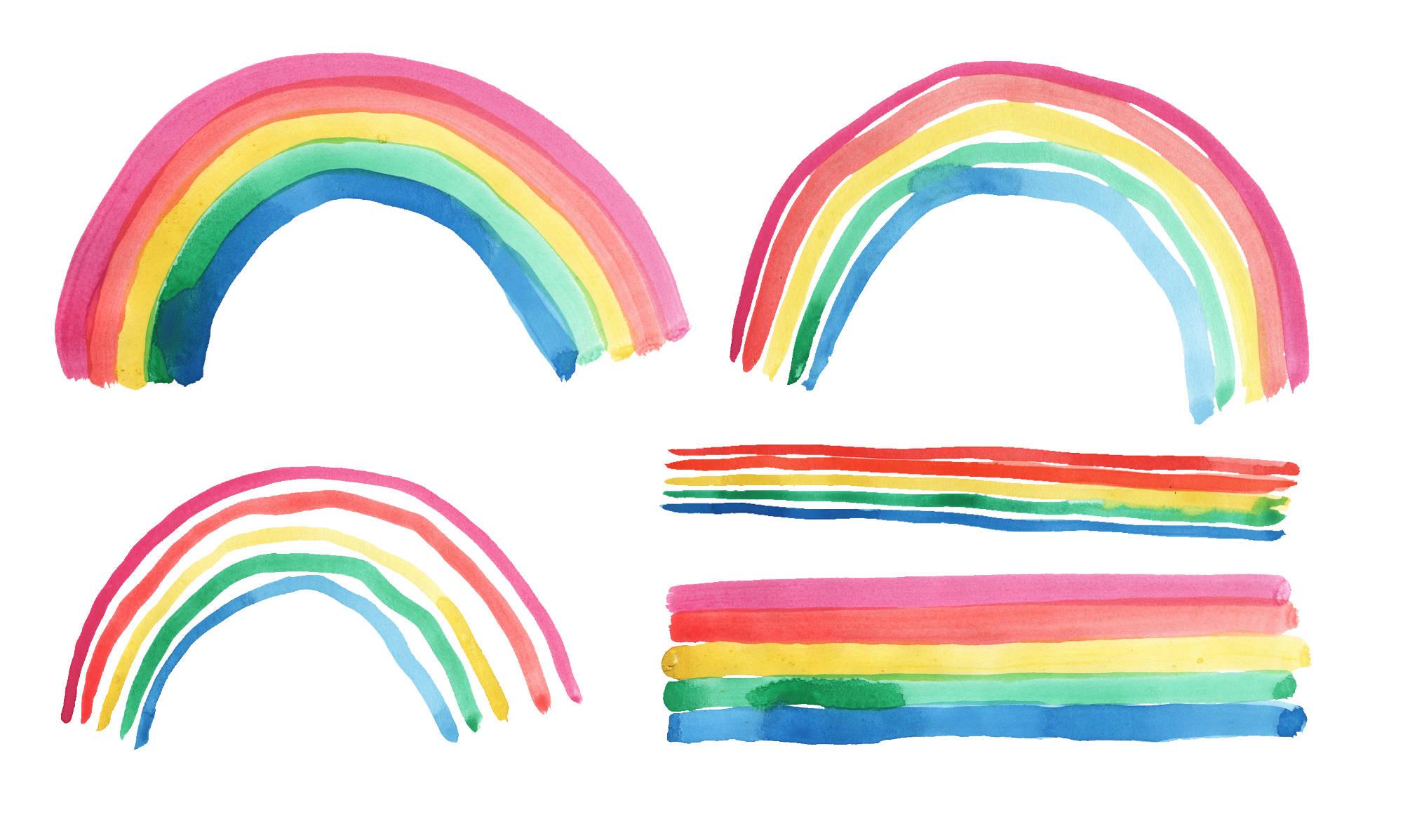 5 Watercolor Rainbow (PNG Transparent).
