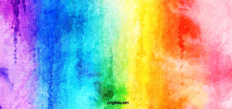 Gradual Texture Background Of Rainbow Watercolor Brush.