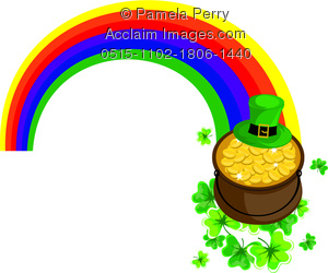 Clip Art Illustration of a Pot of Gold at the End of a Rainbow for.