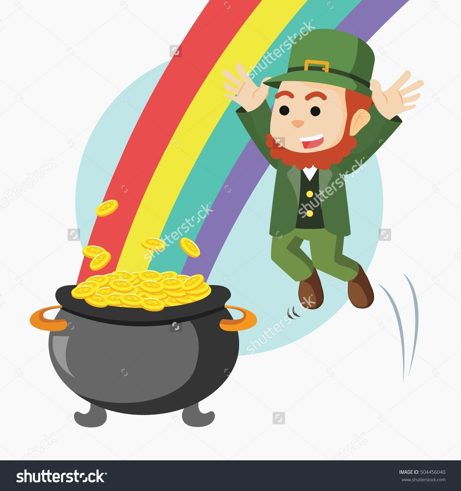Leprechaun Jump Pot Gold Rainbow Stock Illustration 504456040.