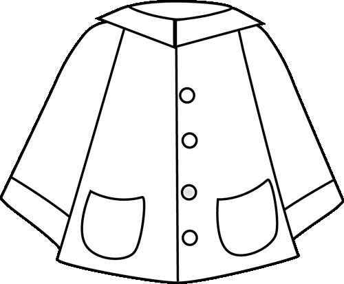 Black and White Raincoat Clip Art.