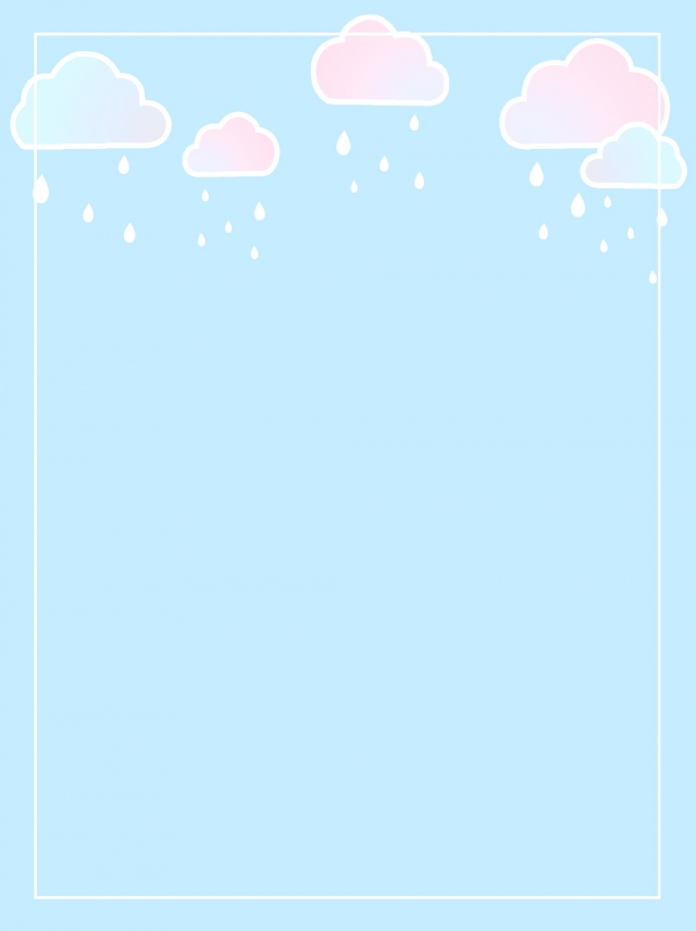 Hand Drawn Cartoon Soft Cloud Raindrops Background Material.