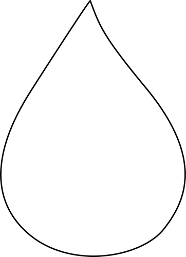 Black and White Raindrop Clip Art.