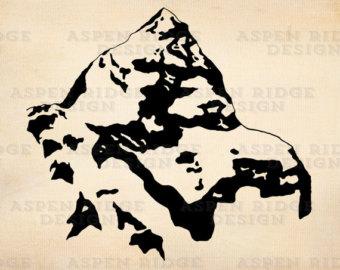 Mt Rainier Hand Drawn Graphic Clip Art Wilderness by theaspenridge.