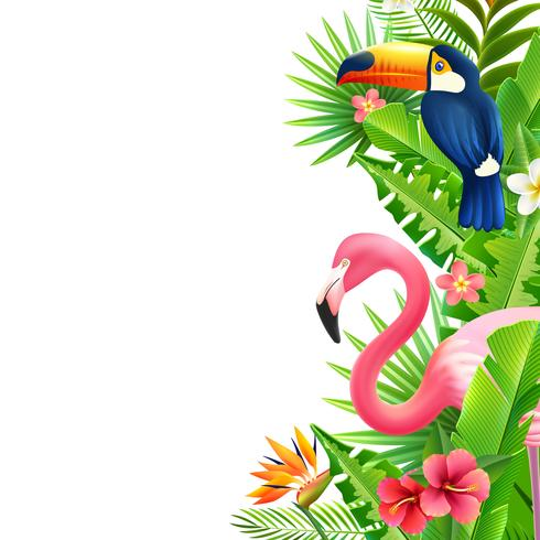 Tropical Rainforest Flamingo Vertical Colorful Border.
