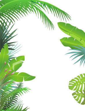 Tropical Rainforest Leaves Clip Art.