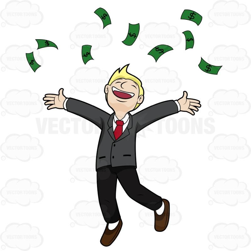 raining money Cartoon Clipart.