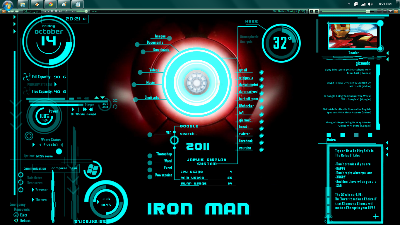 iron man theme windows 7 jarvis.