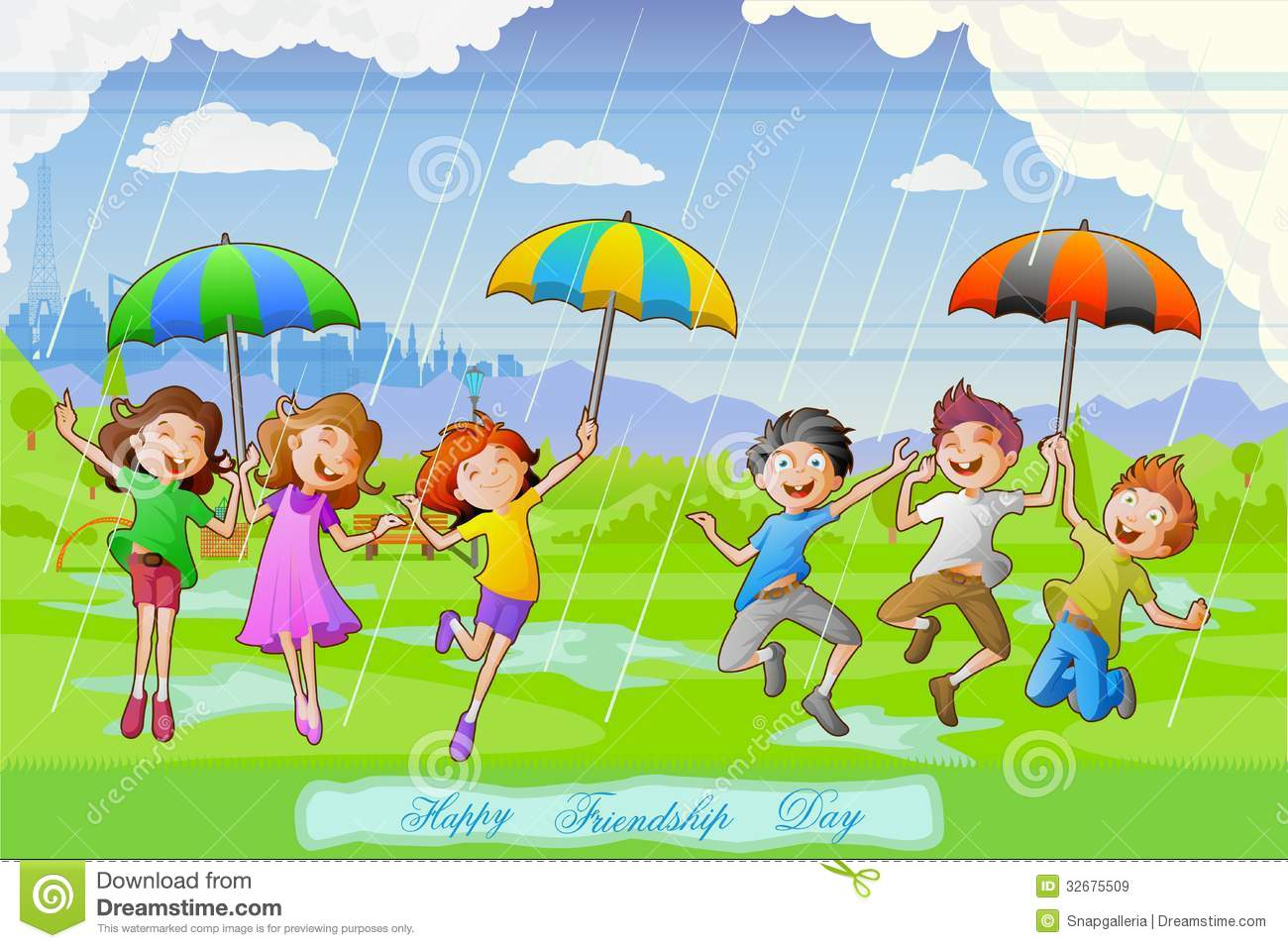 Rainy day kids play clipart.