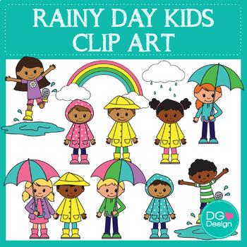 Rainy Day Kids Clipart.