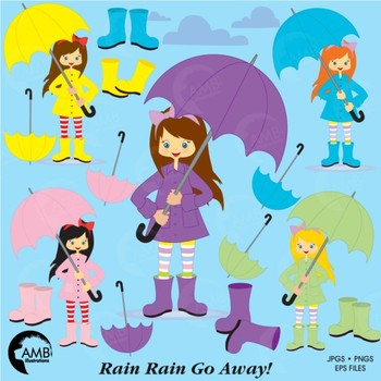 Rainy Day Clipart, Girl Clipart, Weather Clip Art, AMB.