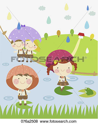 Clip Art of illustration of kids in rainy day 076a2508.