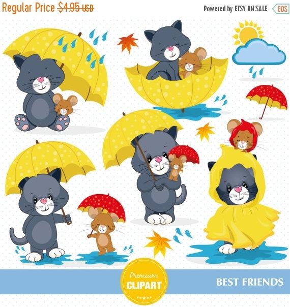 80% OFF SALE Rainy day clipart, Cat clipart, Mouse clipart, Rain.
