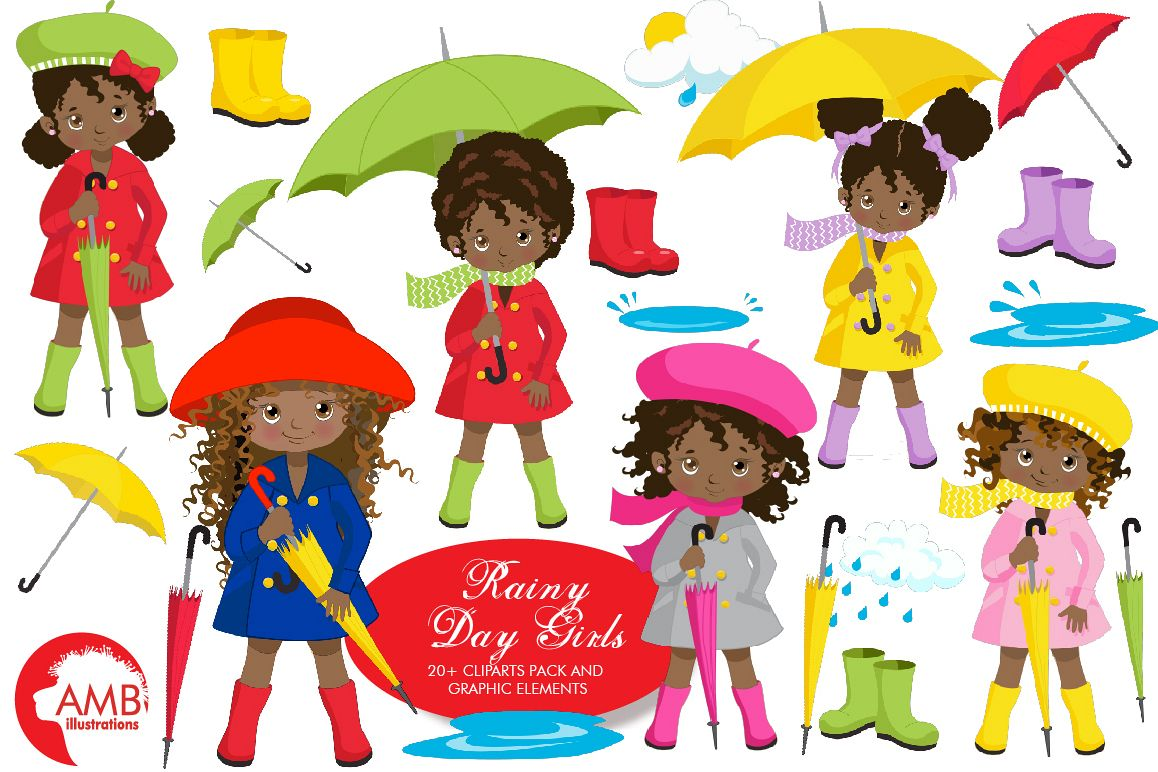 Rainy Day Girls Clipart AMB.