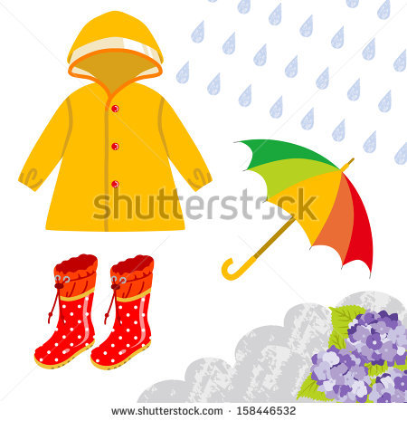 Clothes we wear in rainy season clipart.