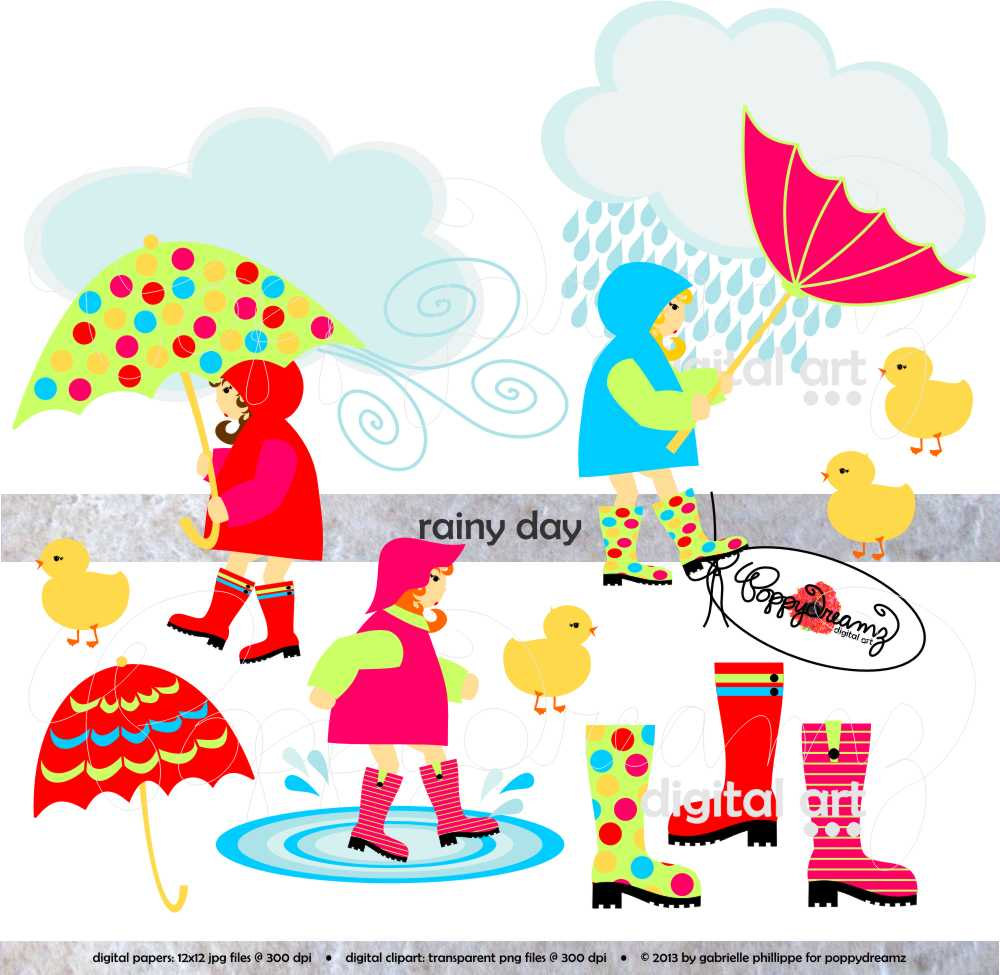 Kids in rainy season clipart.