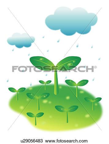 Clipart of rainy, spring, wet, rain, sky, season u29056483.
