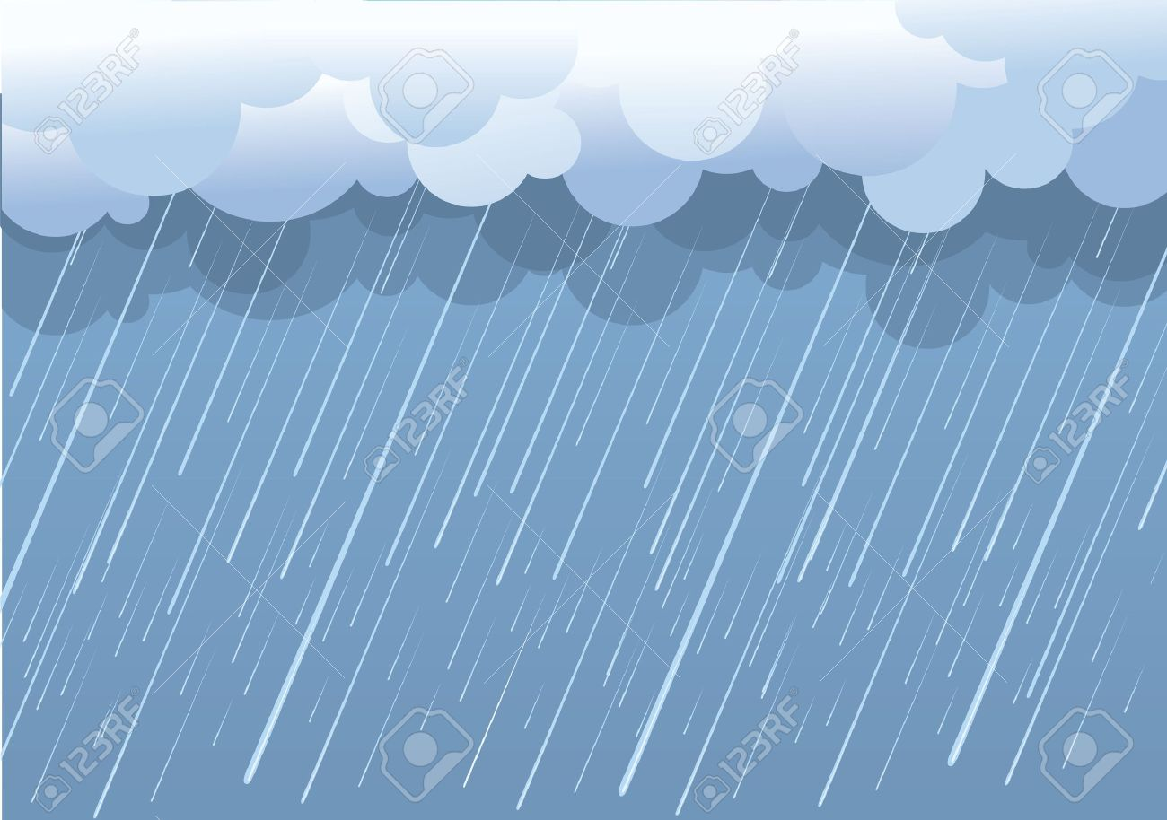 Rain.Vector Image With Dark Clouds In Wet Day Royalty Free.