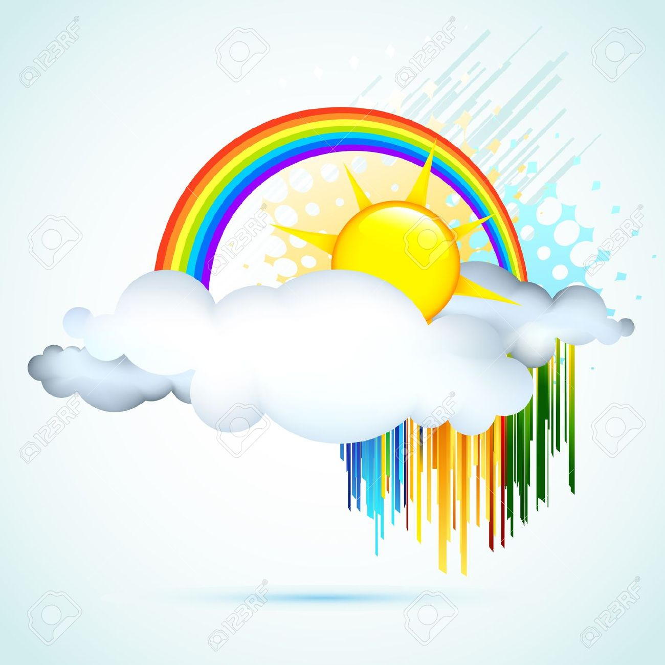 Illustration Of Sun In Clouds With Rainbow In Sky Royalty Free.