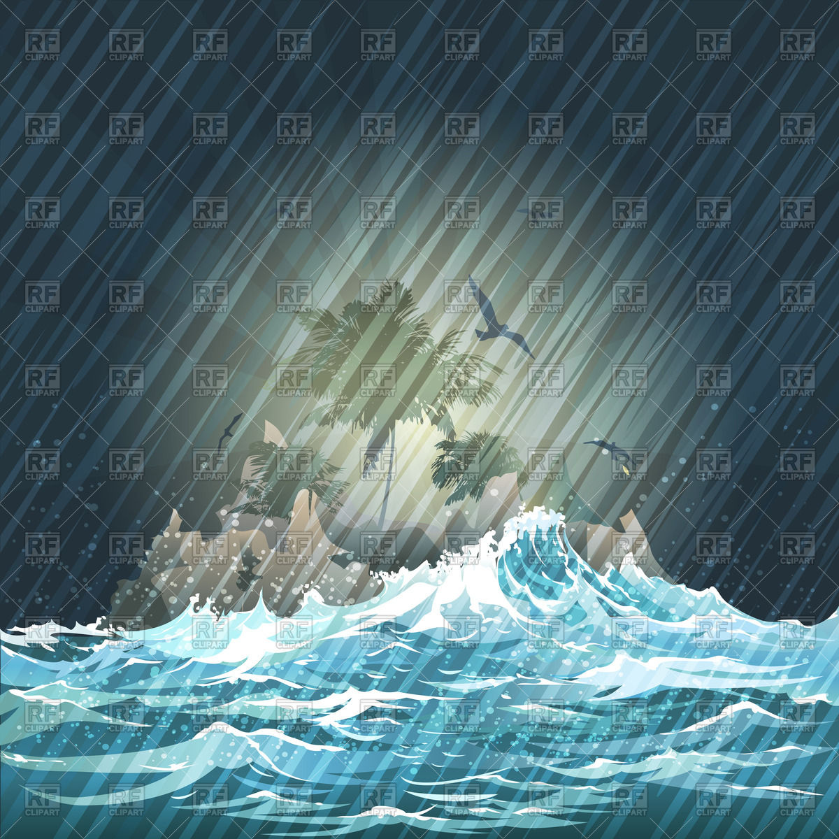 Island in storming ocean on night rainy sky Vector Image #63130.