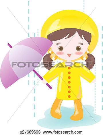 Clipart of people, wet, raining, rainy, rain, summer u27669693.
