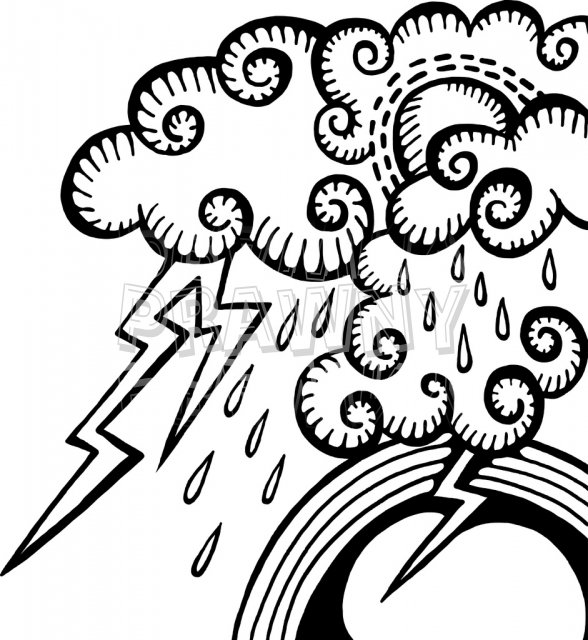 Clouds and Rain Weather Doodle Clip Art.