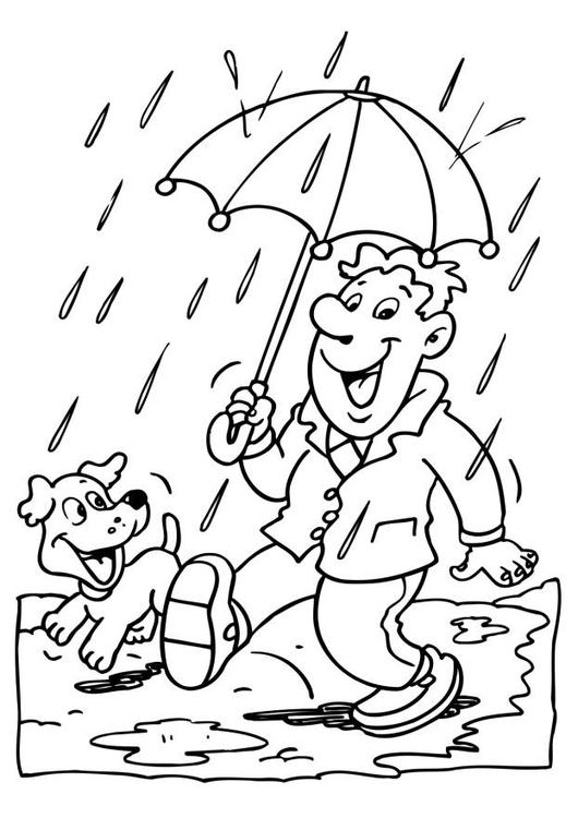 Coloring page rain.