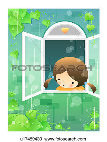 Stock Illustrations of Girl Looking out a Window on a Rainy Day.